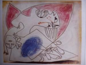 Picasso : Mère avec son enfant mort (dessin préparatoire pour Guernica, 1937)